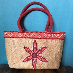 Handbags - Basket weave purse / satchel - beaded & lined